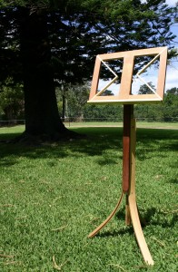 Music Stand constructed with reclaimed timber in Silky Oak, Huon Pine, Jarrah, Bunya Pine and Kuri Pine