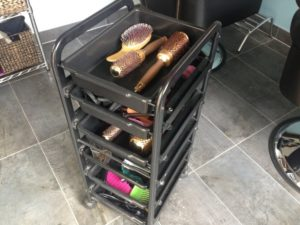 Express Hair and Beauty Trolley with limited space for hair care products